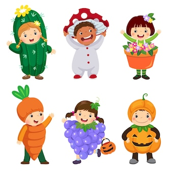 Cartoon of cute kids in plant costumes set. carnival clothes for children.
