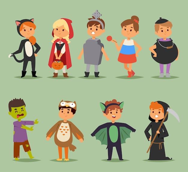 Cartoon cute kids wearing halloween costumes characters