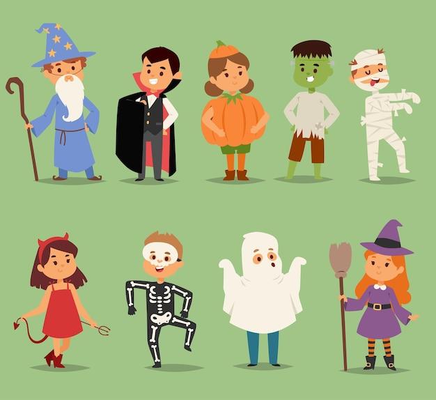 Cartoon cute kids wearing halloween costumes