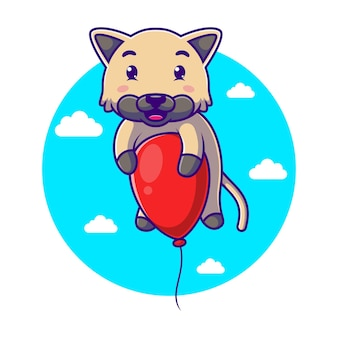 Мультяшный милый котенок летит с красным воздушным шаром