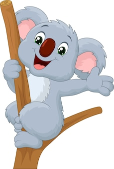 Cartoon cute koala waving hand