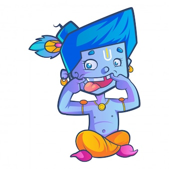 Cartoon of cute krishna