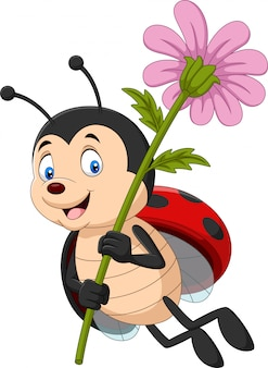 Cartoon cute ladybug holding flower