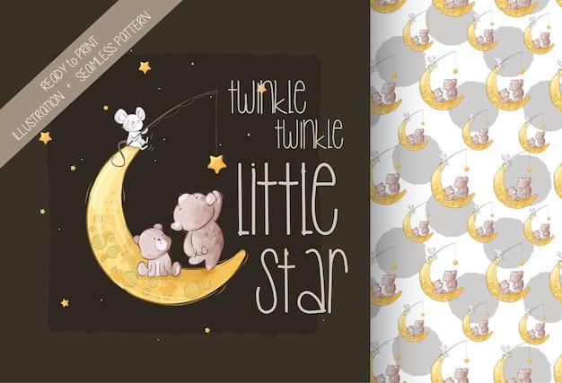 Cartoon cute little bear on the moon seamless pattern