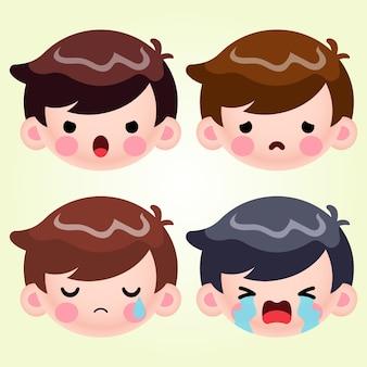 만화 귀여운 작은 소년 머리 아바타 얼굴 부정적인 감정 세트