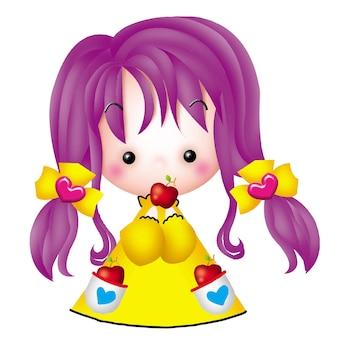 Cartoon cute little girl apple character emotion illustration clip art drawing kawaii