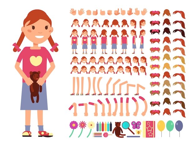 Cartoon cute little girl character. vector creation constructor with different emotions and body par