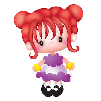 Cartoon cute little girl doll character emotion illustration clip art drawing kawaii