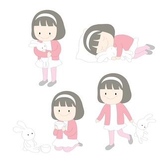 Cartoon cute little girl and doll rabbit