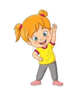 Cartoon cute little girl exercising