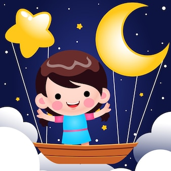 밤 그림에서 비행 보트를 타고 만화 귀여운 소녀