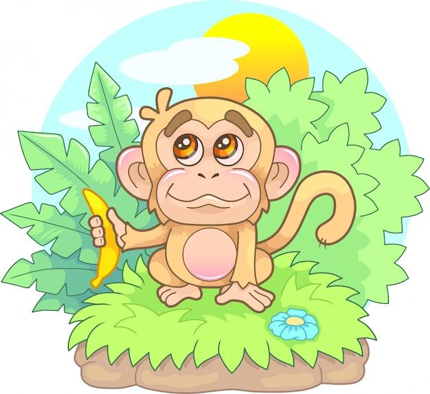 Мультфильм, милая, маленькая обезьянка с бананом в руке, забавная иллюстрация