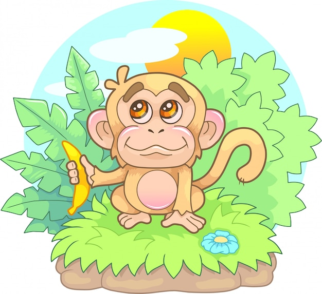 Cartoon, cute, little monkey with a banana in his hand, funny illustration