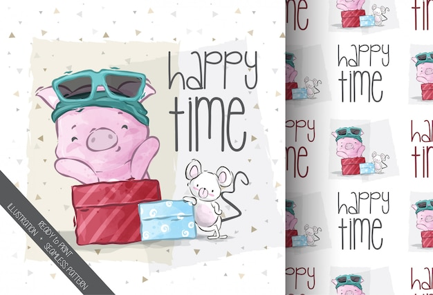 Cartoon cute little pig illustration seamless pattern
