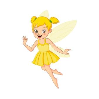 Мультфильм милая маленькая желтая фея летать