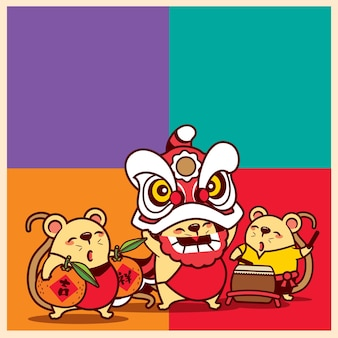 Cartoon cute mice celebrating chinese new year with lion dance performance