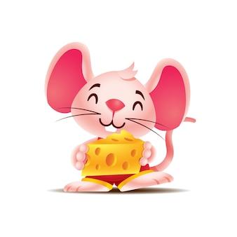 큰 치즈 조각을 들고 만화 귀여운 쥐