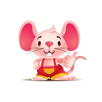 엄지손가락 기호를 보여주는 큰 귀와 만화 귀여운 쥐