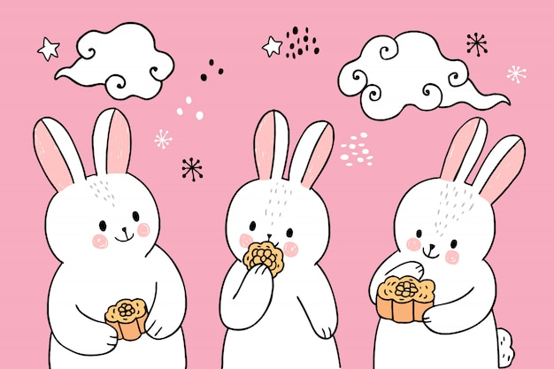 Cartoon cute mid autumn rabbit eating