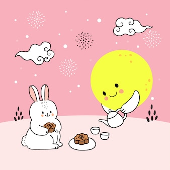 Cartoon cute mid autumn rabbit and moon