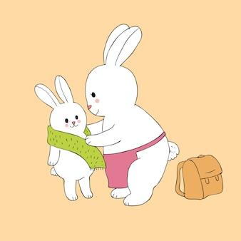 漫画かわいいママと赤ちゃんのウサギスカーフを着て