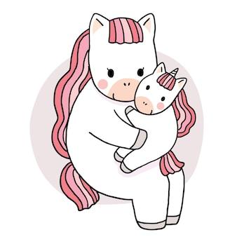 Мультяшный милая мама и ребенок обнимают единорога вектор