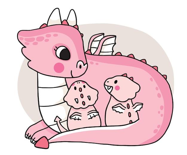 Мультяшный милая мама и дети дракон обнимают вектор