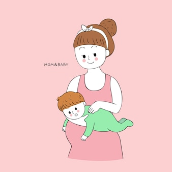 Cartoon cute mom and baby burping vector.