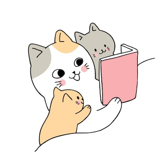 Cartoon cute mom and baby cat reading book