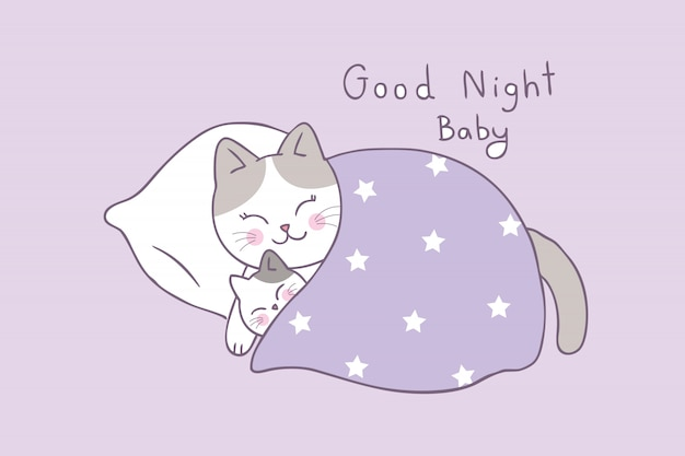 Cartoon cute mom and baby cat sleeping vector.
