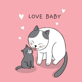 Cartoon cute mom and baby cat vector.