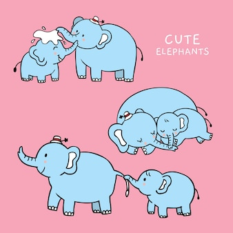Cartoon cute mom and baby elephants vector.