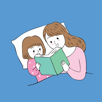 Cartoon cute mom and baby reading  book on bed vector.