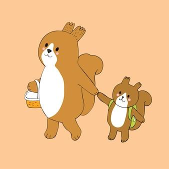 Cartoon cute mom and baby squirrels go to school vector.