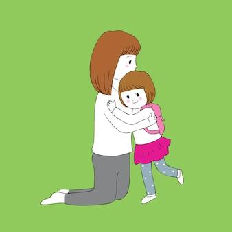 Cartoon cute mom and daughter hugging vector.