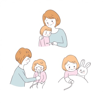 Cartoon cute mom and girl sick vector.