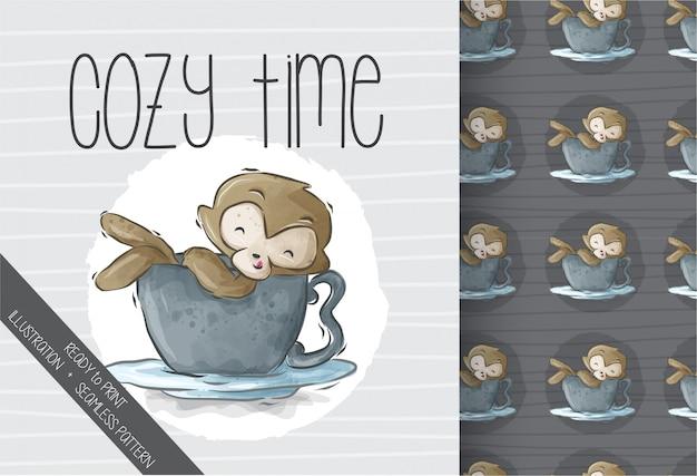 Cartoon cute monkey in a cup seamless pattern