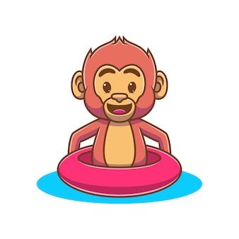 Мультяшная милая обезьяна с удовольствием