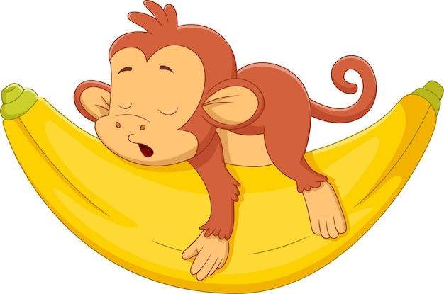 大きなバナナで眠っている漫画かわいい猿