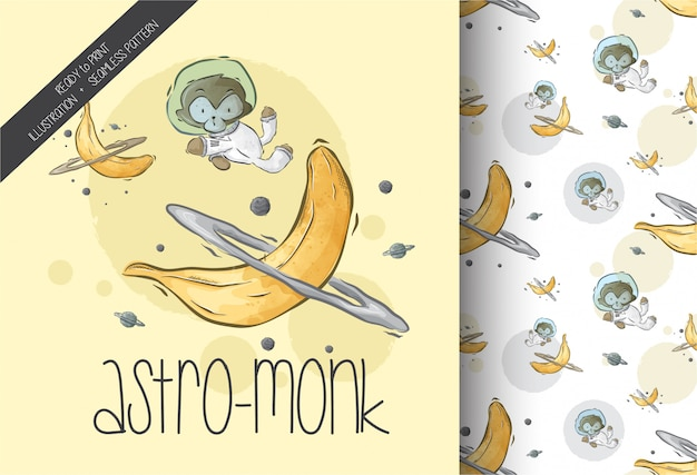 Cartoon cute monkey on space with seamless pattern