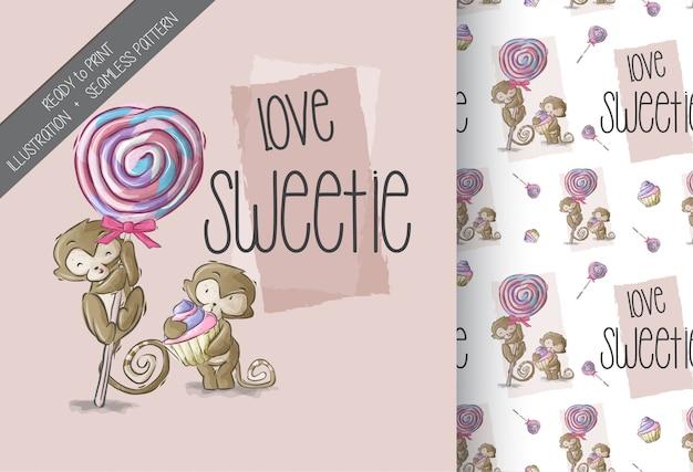 漫画かわいい猿の甘いお菓子のシームレスパターン