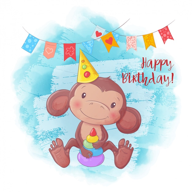 Cartoon cute monkey with a pyramid. birthday card.