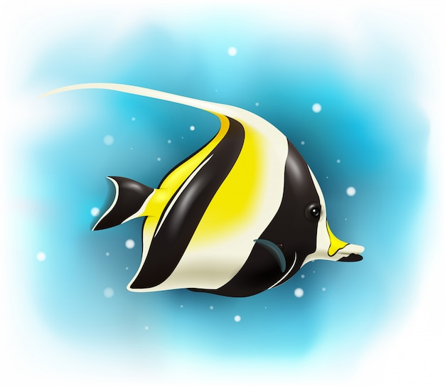 Cartoon cute moorish idol fish