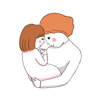Cartoon cute mother and baby hugging