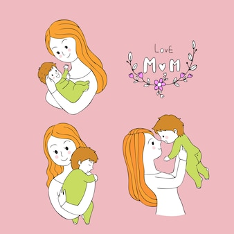 Cartoon cute mother carries baby vector.