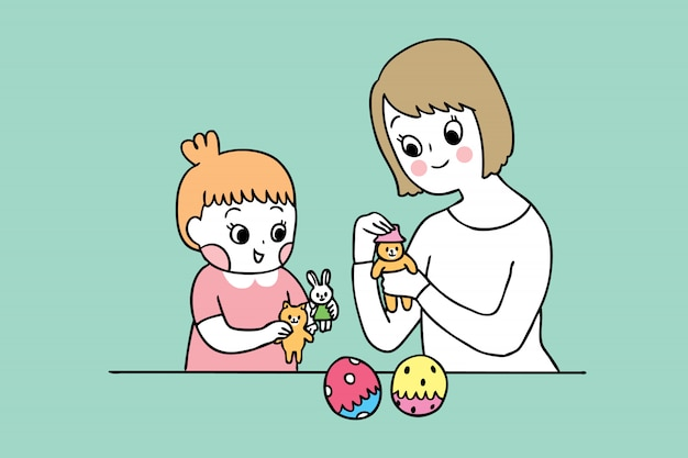 Cartoon cute mother and daughter playing toy