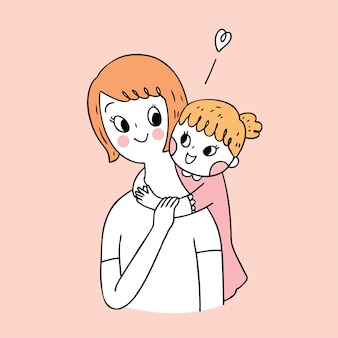 Cartoon cute mother and daughter vector. Premium Vector