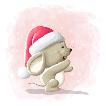 Cartoon cute mouse merry christmas illustration
