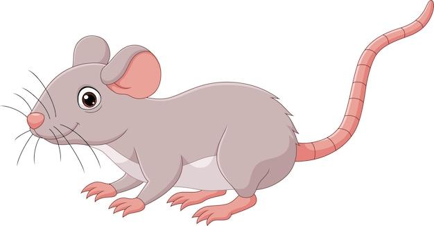 Мультяшная милая мышь на белом фоне