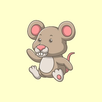 Cartoon cute mouse waving hand
